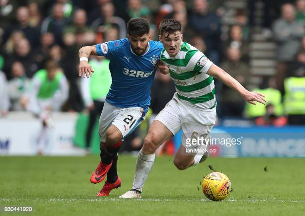 Candeias of Rangers vies with Kieran Tierney of Celtic during the Rangers v Celtic Ladbrokes Scottish Premiership match at Ibrox Stadium on March 11...