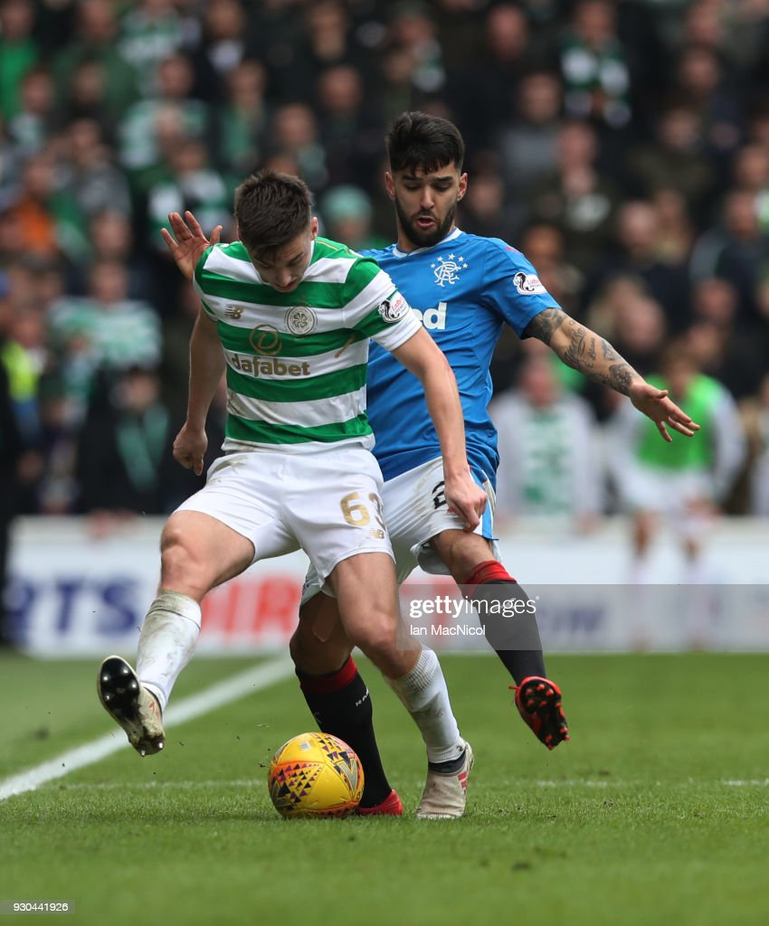 Candeias of Rangers vies with Kieran Tierney of Celtic during the Rangers v Celtic Ladbrokes Scottish Premiership match at Ibrox Stadium on March 11, 2018 in Glasgow, Scotland.