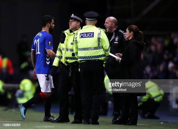 Candeias of Rangers walks off after being sent off during the UEFA Europa League Group G match between Rangers and Villarreal CF at Ibrox Stadium on...