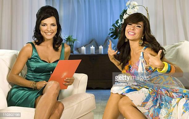 Candela Ferro and Gloria Trevi during Gloria Trevi Interview with Candela Ferro for E Entertainment at Tides Hotel in Miami Beach Florida United...