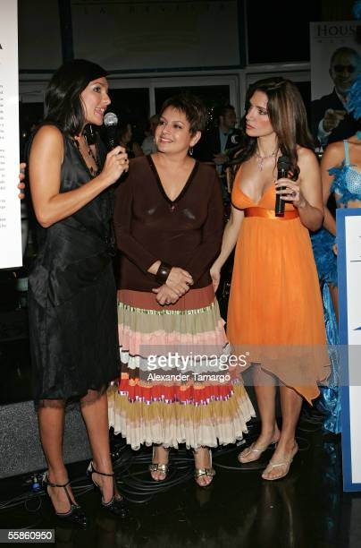 Candela Ferro Maria Antonietta Collins and Ileana Garcia pose at Bongos Cuban Cafe for the House King magazine premier party on October 5 2005 in...
