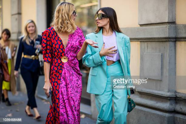 Candela Novembre and Gilda Ambrosio seen outside Marni during Milan Fashion Week Spring/Summer 2019 on September 23 2018 in Milan Italy