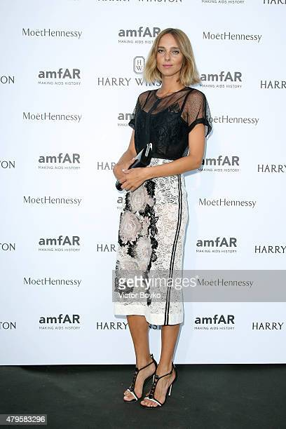 Candela Novembre attends the amfAR dinner at the Pavillon LeDoyen during the Paris Fashion Week Haute Couture on July 5 2015 in Paris France