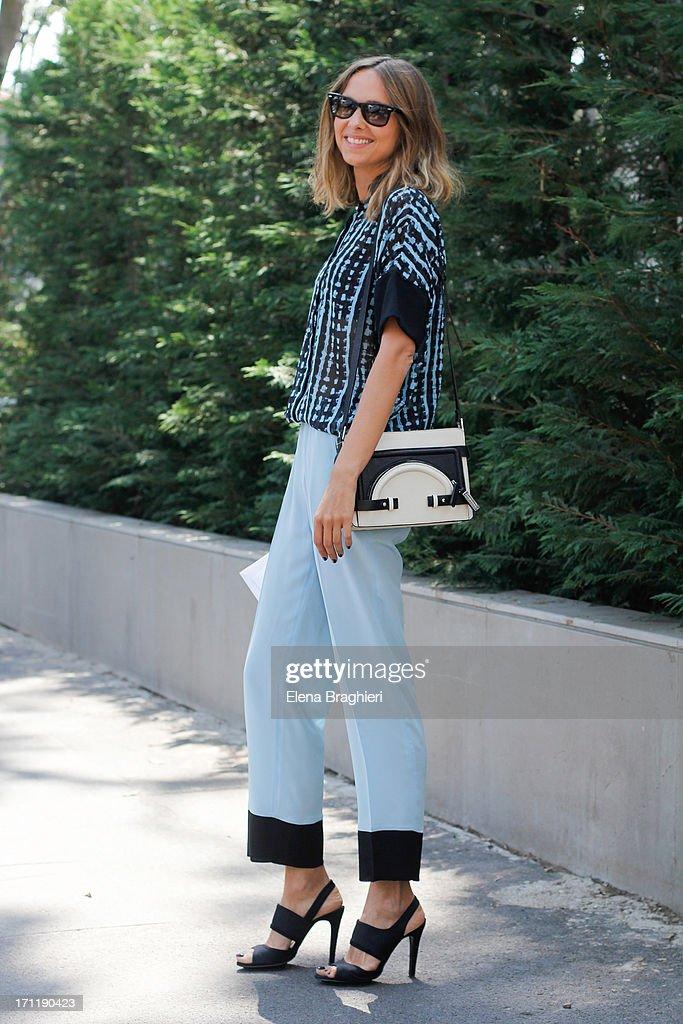 Candela Novembre during Milan Fashion Week Menswear Spring/Summer 2014 on June 22, 2013 in Milan, Italy.