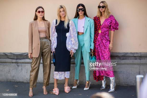Candela Novembre Gilda Ambrosio Giorgia Tordini Ada Kokosar seen outside Marni during Milan Fashion Week Spring/Summer 2019 on September 23 2018 in...