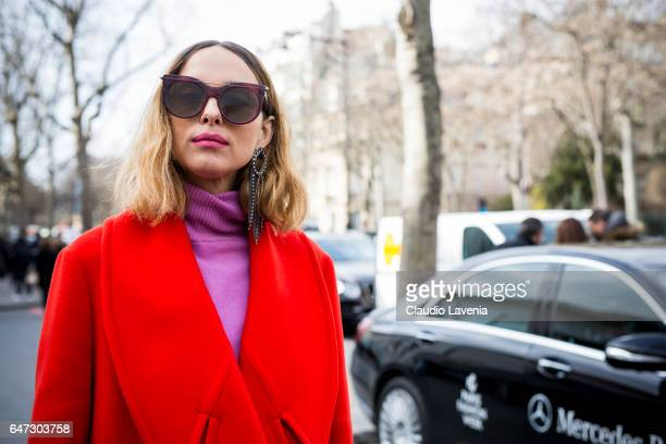 Candela Novembre is seen before the Paco Rabanne show at the Musee d'Art Moderne during Paris Fashion Week Womenswear Fall/Winter 2017/2018 on March...