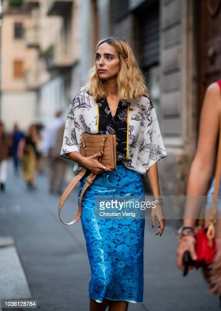 Candela Novembre is seen outside No 21 during Milan Fashion Week Spring/Summer 2019 on September 19 2018 in Milan Italy