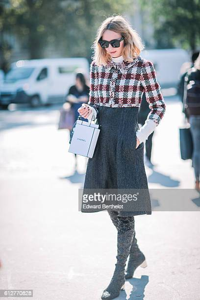 Candela Novembre is seen outside the Chanel show during Paris Fashion Week Spring Summer 2017 at Grand Palais on October 4 2016 in Paris France