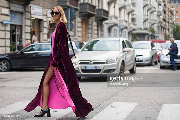 Candela Novembre is seen outside the N21 show during Milan Fashion Week Spring/Summer 2017 on September 21 2016 in Milan Italy