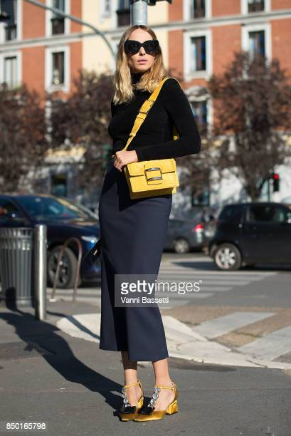 Candela Novembre poses after the Alberta Ferretti show during Milan Fashion Week Spring/Summer 2018 on September 20 2017 in Milan Italy