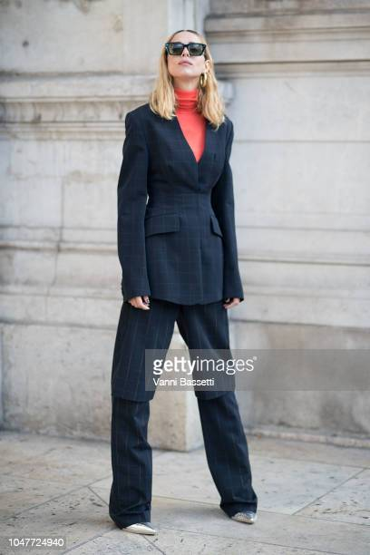 Candela Novembre poses after the Stella McCartney show at the Opera Garnier during Paris Fashion Week SS19 Womenswear on October 1 2018 in Paris...