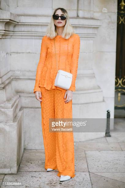 Candela Novembre poses after the Stella McCartney show at the Palais Garnier during Paris Fashion Week Womenswear Fall Winter 2019/2020 on March 04...