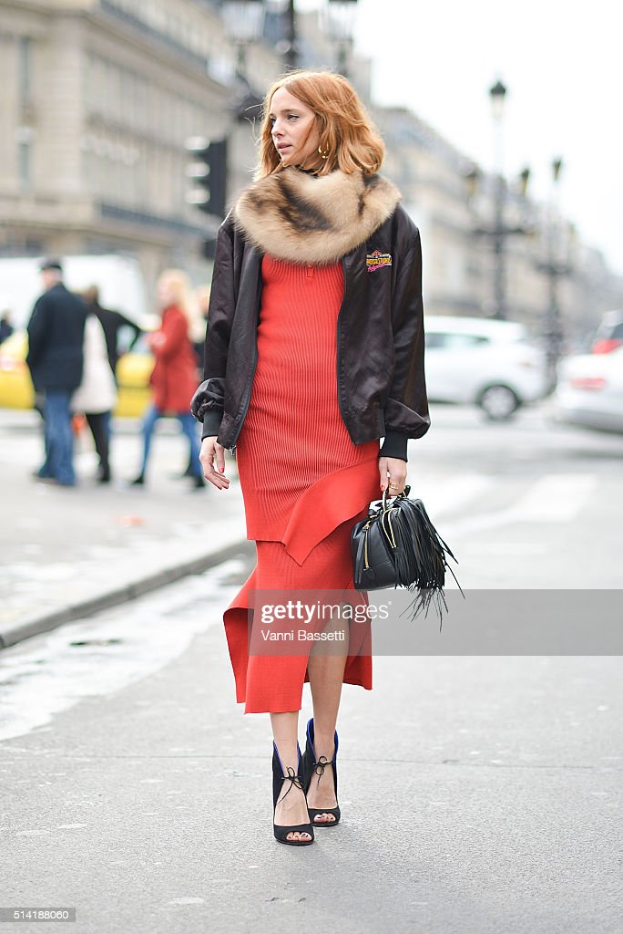 Candela Novembre poses wearing Stella McCartney dress before the Stella McCartney show at the Opera Garnier during Paris Fashion Week FW 16/17 on March 7, 2016 in Paris, France.