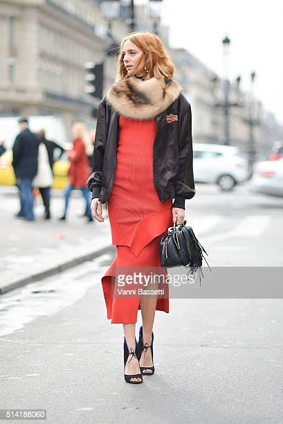 Candela Novembre poses wearing Stella McCartney dress before the Stella McCartney show at the Opera Garnier during Paris Fashion Week FW 16/17 on...