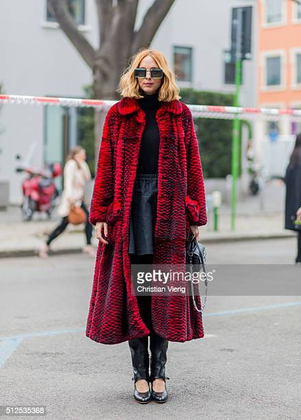 Candela Novembre seen outside Emporio Armani during Milan Fashion Week Fall/Winter 2016/17 on February 26 in Milan Italy