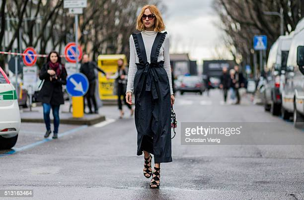Candela Novembre seen outside Giorgio Armani during Milan Fashion Week Fall/Winter 2016/17 on February 29 in Milan Italy