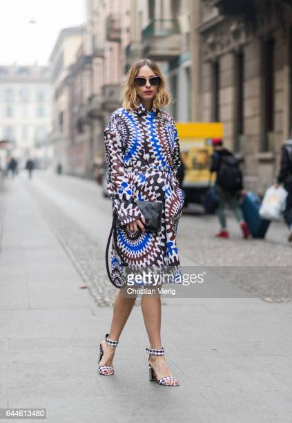 Candela Novembre wearing a dress heels from Pucci outside Emilio Pucci during Milan Fashion Week Fall/Winter 2017/18 on February 23 2017 in Milan...
