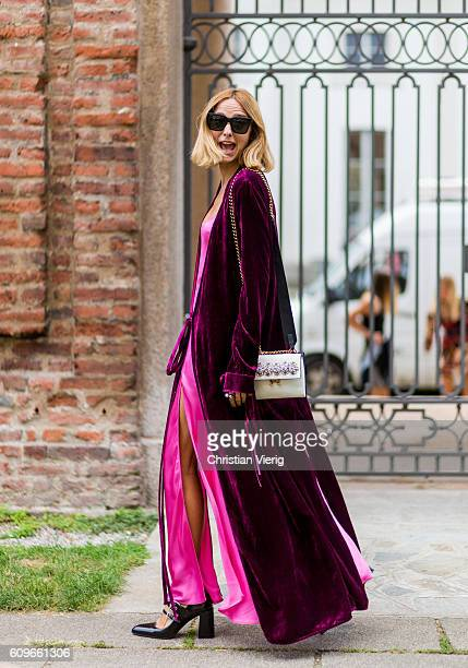 Candela Novembre wearing a pink dress and velvet is seen outside Alberta Ferretti during Milan Fashion Week Spring/Summer 2017 on September 21 2016...