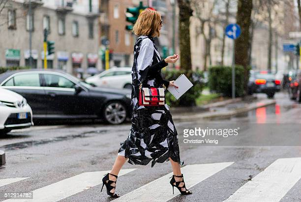 Candela Novembre wearing a white black dress seen outside Marni during Milan Fashion Week Fall/Winter 2016/17 on February 28 in Milan Italy