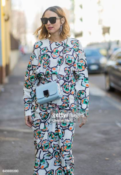 Candela Novembre wearing a white dress Dior bag outside Marni during Milan Fashion Week Fall/Winter 2017/18 on February 26 2017 in Milan Italy