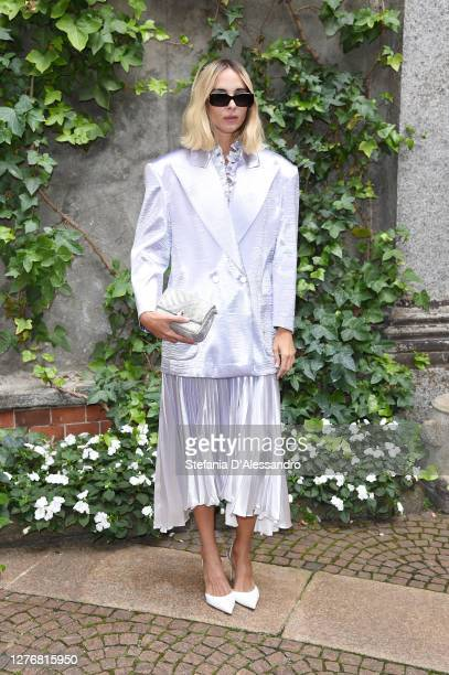 Candela Pelizza is seen arriving at the Philosophy fashion show during the Milan Women's Fashion Week on September 26, 2020 in Milan, Italy.