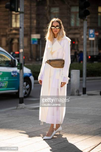 Candela Pelizza wearing a white dress is seen outside Sportmax on Day 3 Milan Fashion Week Autumn/Winter 2019/20 on February 22 2019 in Milan Italy