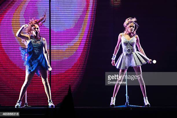 Candelaria Molfese and Martina Stoessel perform as Camila and Violetta in Disney's Violetta Live at Ahoy on March 11 2015 in Rotterdam Netherlands