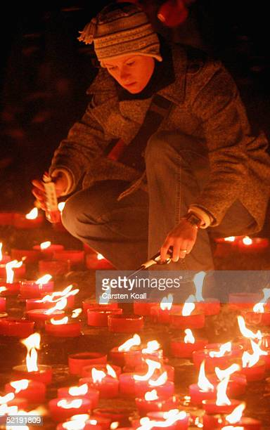 Candels are placed in the old marketplace to commemorate victims of WW II on February 13 2005 in Dresden eastern Germany 60 years ago on February...