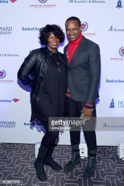 Candi Shand and Chris Chambers attend La La Anthony's PreGrammy Party Presented by Howard University on January 26 2018 in New York City