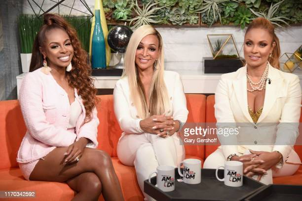 Candiace Dillard Karen Huger and Gizelle Bryant of the reality series Real Housewives of Potomac visit BuzzFeed's AM To DM on August 26 2019 in New...