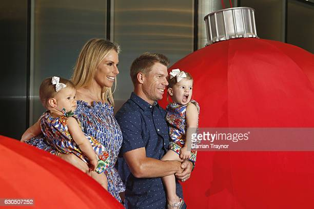 Candice and David Warner and their duaghters Indi and Ivy pose for a photo at the Australian Cricket Team Christmas Celebrations on December 25 2016...