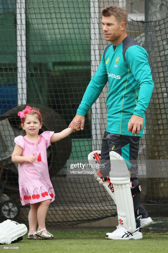 Candice and David Warner relaxes with their daughter Ivy during the Australian nets session at the on December 25, 2017 in Melbourne, Australia.