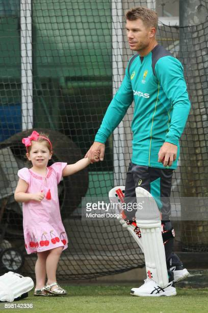 Candice and David Warner relaxes with their daughter Ivy during the Australian nets session at the on December 25 2017 in Melbourne Australia