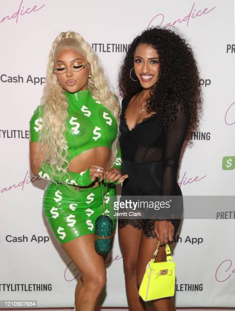 Candice and JaNina attend the single and video premiere party for Candice's New Single Cash App at Pretty Little Thing Showroom on March 06 2020 in...