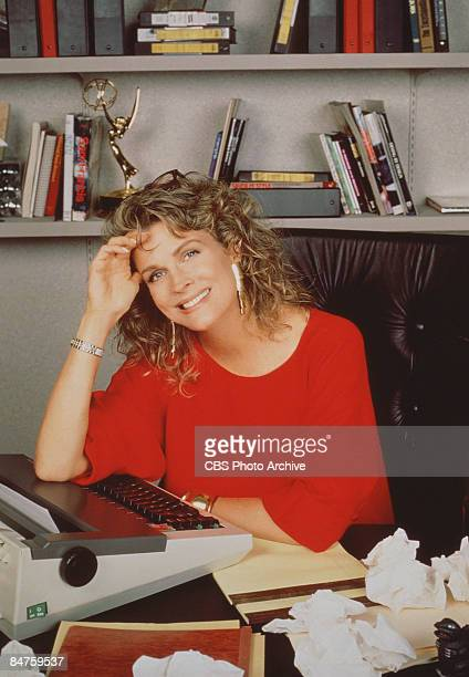 Candice Bergen as television journalist Murphy Brown from the CBS sitcom sits next to a typewriter in her office California 1990