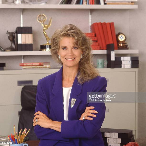 Candice Bergen poses as the investigative television journalist Murphy Brown from the CBS sitcom of the same name California 1990