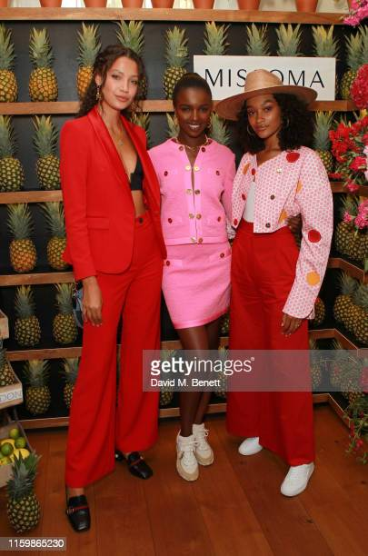 Candice Blackburn Leomie Anderson and Cheyenne MayaCarty attend the Missoma Summer Party at the Residence of the Embassy of Colombia on July 03 2019...