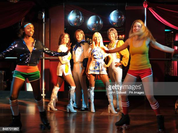 Candice Bowen and Vitte Burneikaite dance skate in front of Madame Tussauds waxwork figures of ABBA AnniFird Benny Agnetha and Bjorn the Swedish pop...