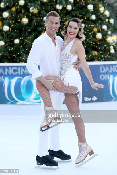 Candice Brown and ice skater Matt Evers pose during the Dancing On Ice 2018 photocall held at Natural History Museum Ice Rink on December 19 2017 in...