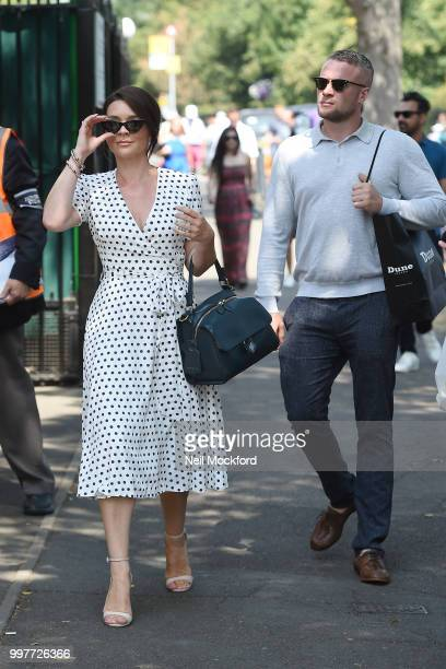 Candice Brown and Liam Macaulay seen arriving at Wimbledon for Men's Semi Final Day on July 12 2018 in London England