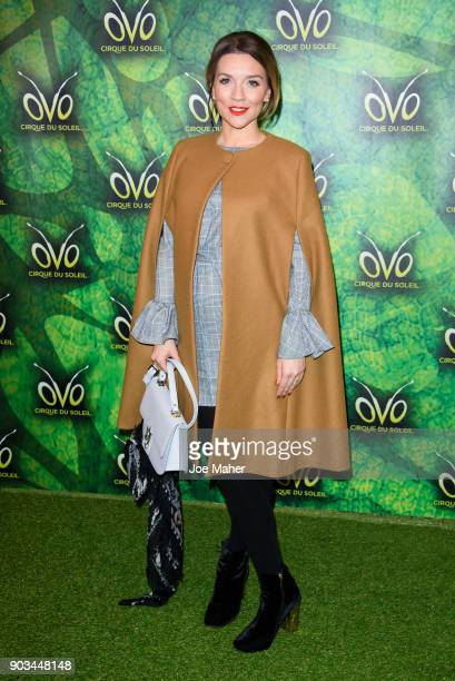 Candice Brown arrives at the Cirque du Soleil OVO premiere at Royal Albert Hall on January 10 2018 in London England
