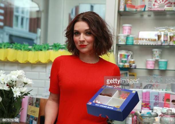 Candice Brown in store at Primrose Bakery in Covent Garden to launch her range of 'Tot Cross Buns' on April 12 2017 in London United Kingdom
