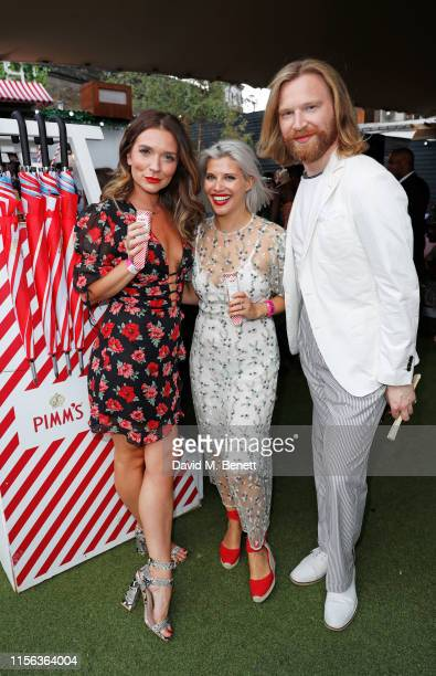 Candice Brown Pips Taylor and Henry Conway celebrate the Pimm's Summer Garden at Flat Iron Square on July 18 2019 in London England