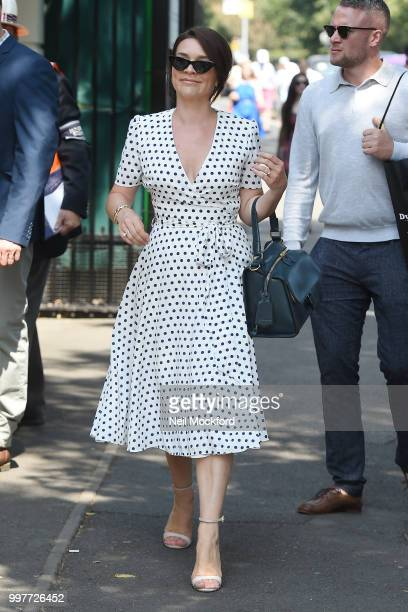 Candice Brown seen arriving at Wimbledon for Men's Semi Final Day on July 12 2018 in London England