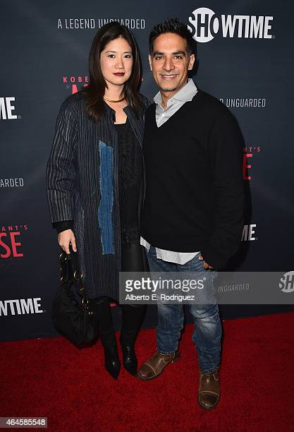 Candice Chen and director Gotham Chopra attend the premiere of Showtime's Kobe Bryant's Muse at The London Hotel on February 26 2015 in West...