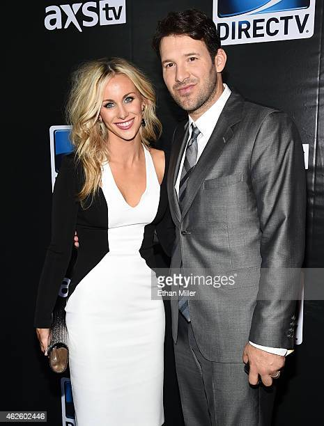 Candice Crawford and Dallas Cowboys quarterback Tony Romo attend DirecTV Super Saturday Night hosted by Mark Cuban's AXS TV and Pro Football Hall of...
