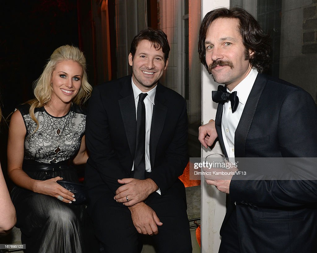 Candice Crawford, Tony Romo and Paul Rudd attend the Bloomberg & Vanity Fair cocktail reception following the 2013 WHCA Dinner at the residence of the French Ambassador on April 27, 2013 in Washington, DC.