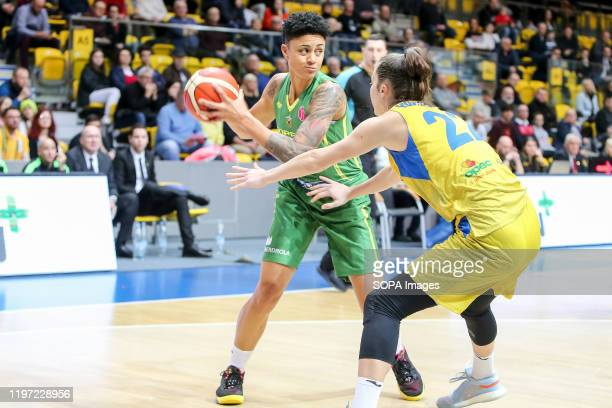 Candice Dupree and Amalia Rembiszewska are seen in action during EuroLeague Women group B match between Asseco Arka Gdynia and Sopron Basket in...