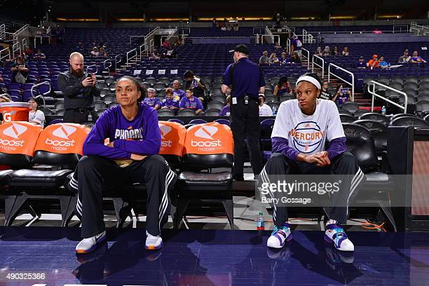 Candice Dupree and DeWanna Bonner of the Phoenix Mercury before the game against the Minnesota Lynx during the WNBA Playoffs Western Conference...