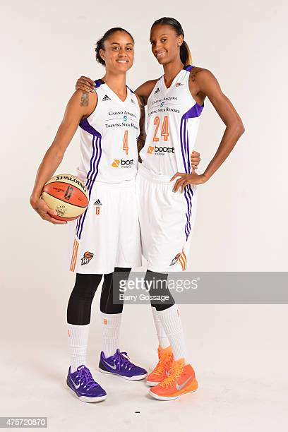 Candice Dupree and DeWanna Bonner of the Phoenix Mercury take a photo during the Phoenix Mercury Media Day on June 1 2015 in Phoenix Arizona NOTE TO...